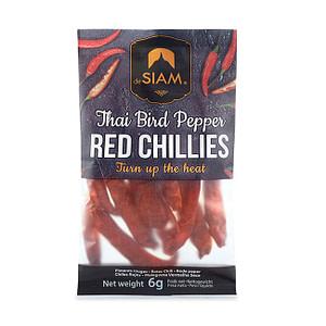 Getrocknete, rote Chilischoten von deSiam